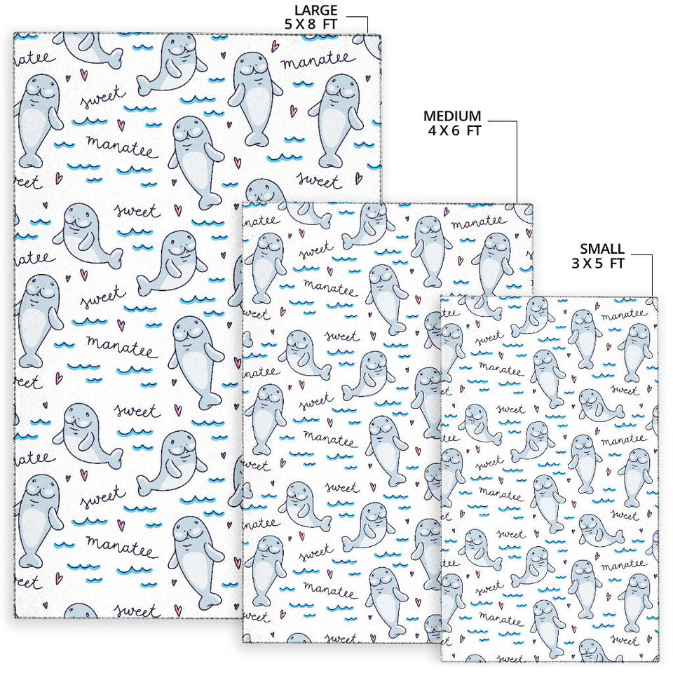 Manatee Baby Pattern Print Design 03 Area Rug