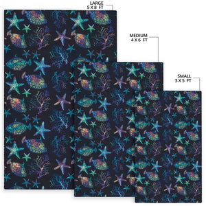 Starfish Pattern Print Design 01 Area Rug