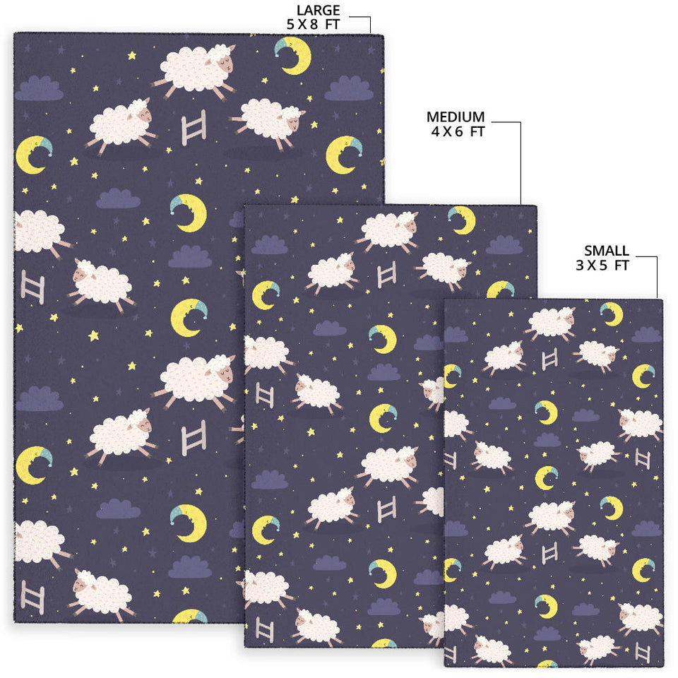 Sheep Night Pattern Print Design 02 Area Rug