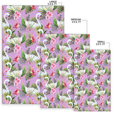 Swan with Flower Pattern Print Design 01 Area Rug