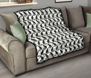 Black Cat Pattern Print Design 02 Quilt Bedspread
