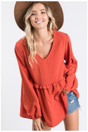 Rust Top - Not Your Sisters Closet Boutique