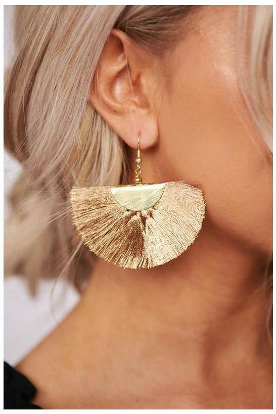Gold Fan Earring