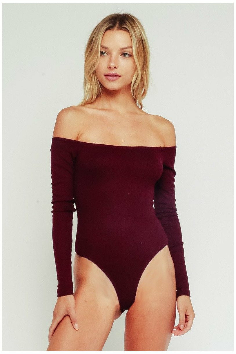 Burgundy Bodysuit - Not Your Sisters Closet Boutique