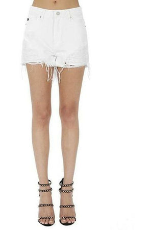 White Ripped High Rise Shorts