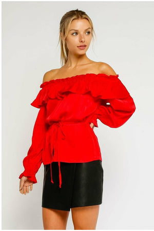 Red Satin Top - Not Your Sisters Closet Boutique