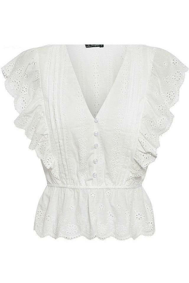 Elegant Ruffle Blouse - White - Not Your Sisters Closet Boutique