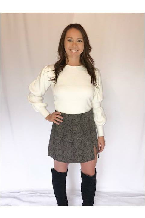 Puffy Sleeve Sweater - Not Your Sisters Closet Boutique