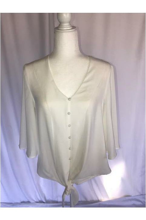 Front Tie White Button Down - Not Your Sisters Closet Boutique