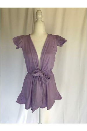 Lilac V-Neck Romper - Not Your Sisters Closet Boutique