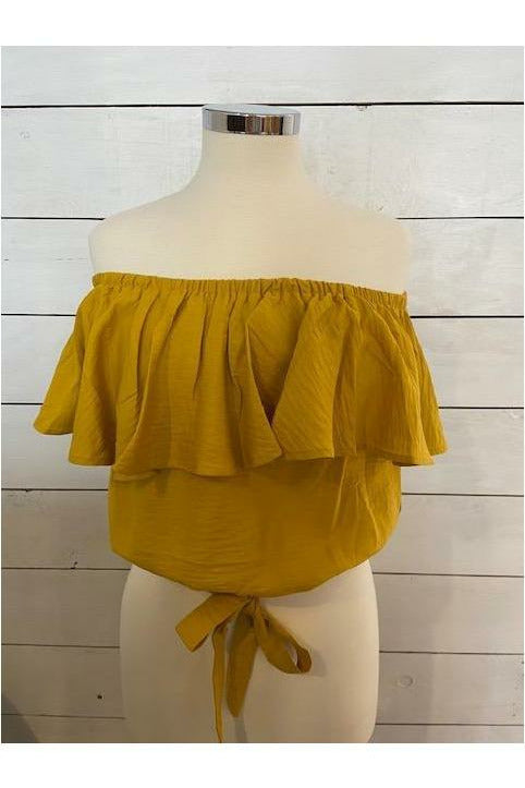 Off Shoulder Mustard