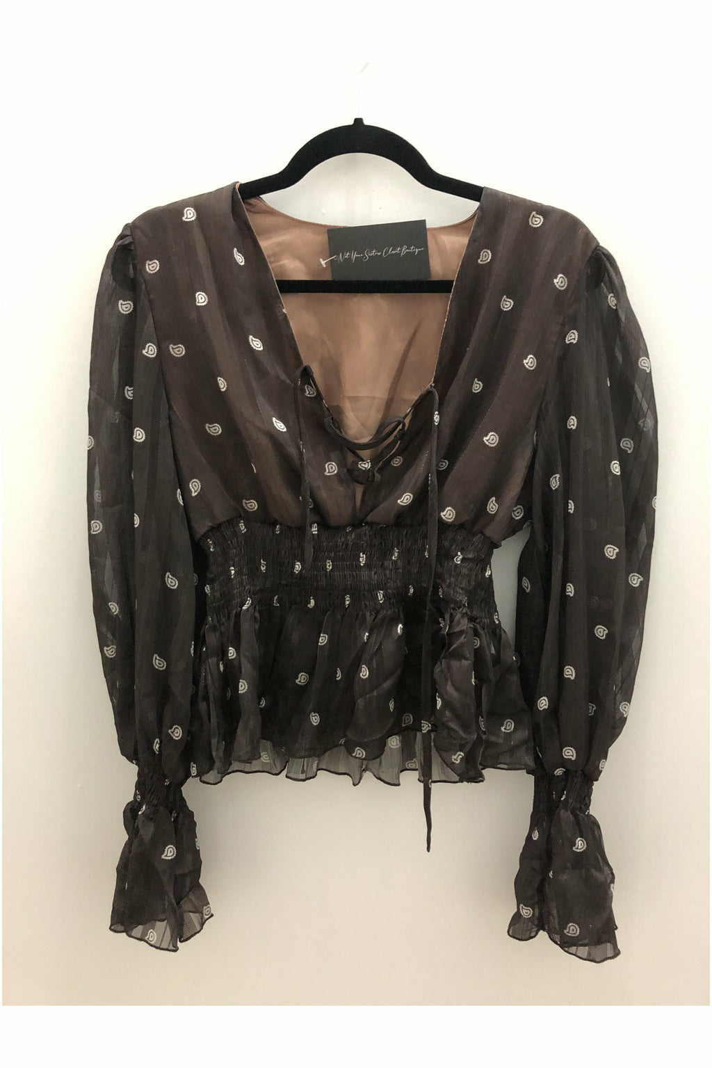 Brown Lace Up Blouse