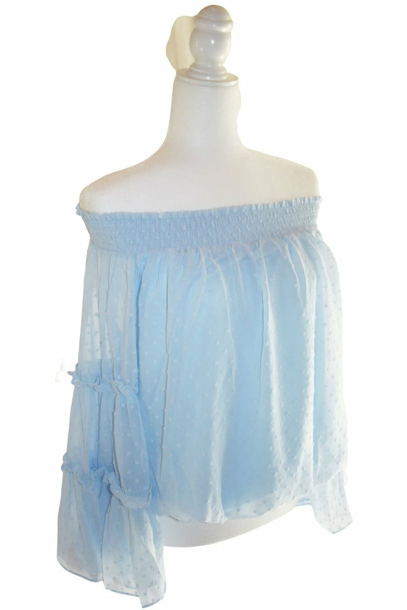 Dot off the Shoulder - Sky Blue - Not Your Sisters Closet Boutique