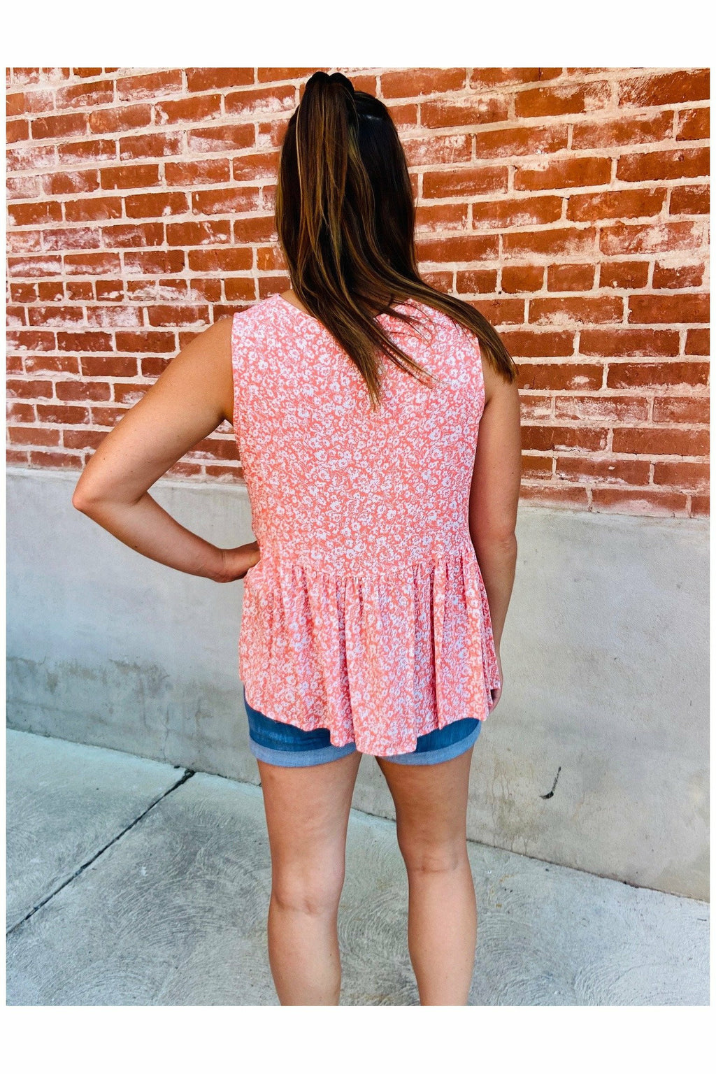 Coral Baby Doll Top