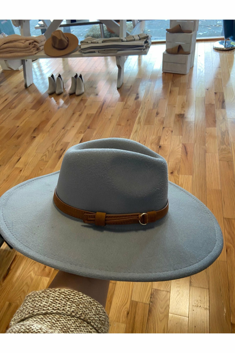 Grey Wide Brim Hat