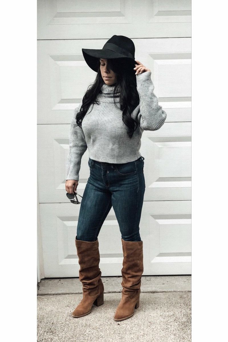 Turtle Neck Crop Sweater - Grey - Not Your Sisters Closet Boutique