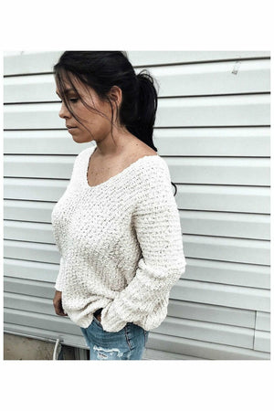 V-neck Apricot Sweater - Not Your Sisters Closet Boutique