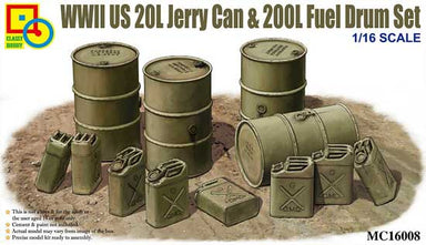 1/16 Classy Hobby US 20L Jerry Can & 200L Fuel Drum Set