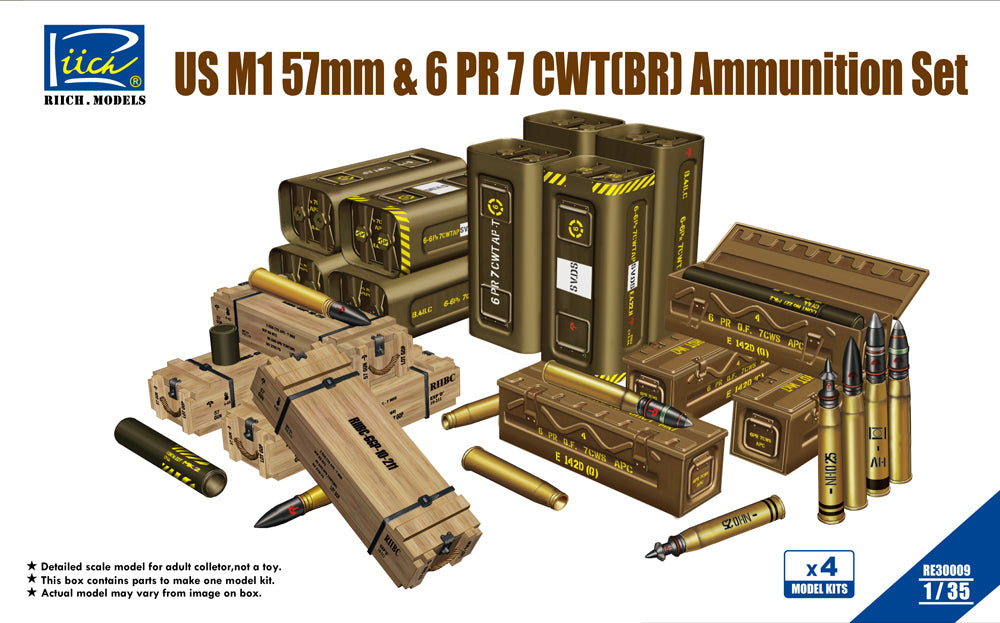 1/35 Riich US M1 57mm & 6pdr 7cwt Ammunizion Set