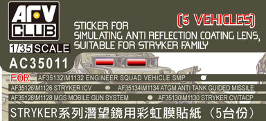 STICKER FOR SIMULATING ANTI REFLECTION COATING ON PERISCOPE FOR STRYKER