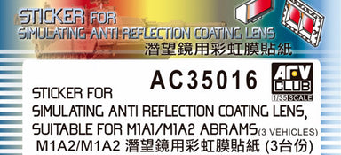 STICKER ANTI REFLECTION COATING LENS FOR M1A1/M1A2 ABRAMS
