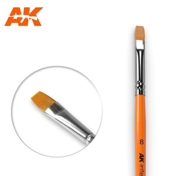 AK Interactive 8 Synthetic Flat Brush