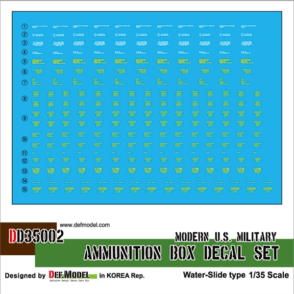 1/35 Def Model US Modern Ammunition Box Decal Set