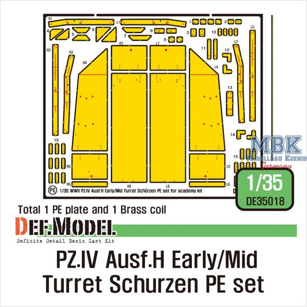 1/35 Def Model Pz.IV Ausf.H Early/Mid Turret Schurzen PE Set