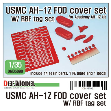 1/35 Def Model USMC AH-1Z FOD Cover w/ RBF Tag Set (Academy 1/35)