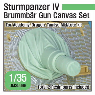 1/35 Def Model German Sturmpanzer IV Brummbar Mid/Late Main Gun Canvas Cover Set