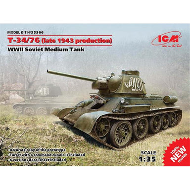 ICM T34/76 WWII Soviet Medium Tank (Late 1943 Production)