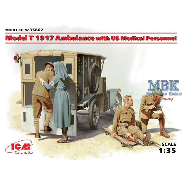 1/35 ICM Model T 1917 Ambulance with US Medical Personnel