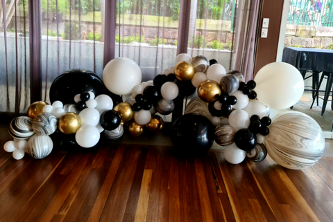 Brisbane balloon garlands and installations Black, Gold, and marble