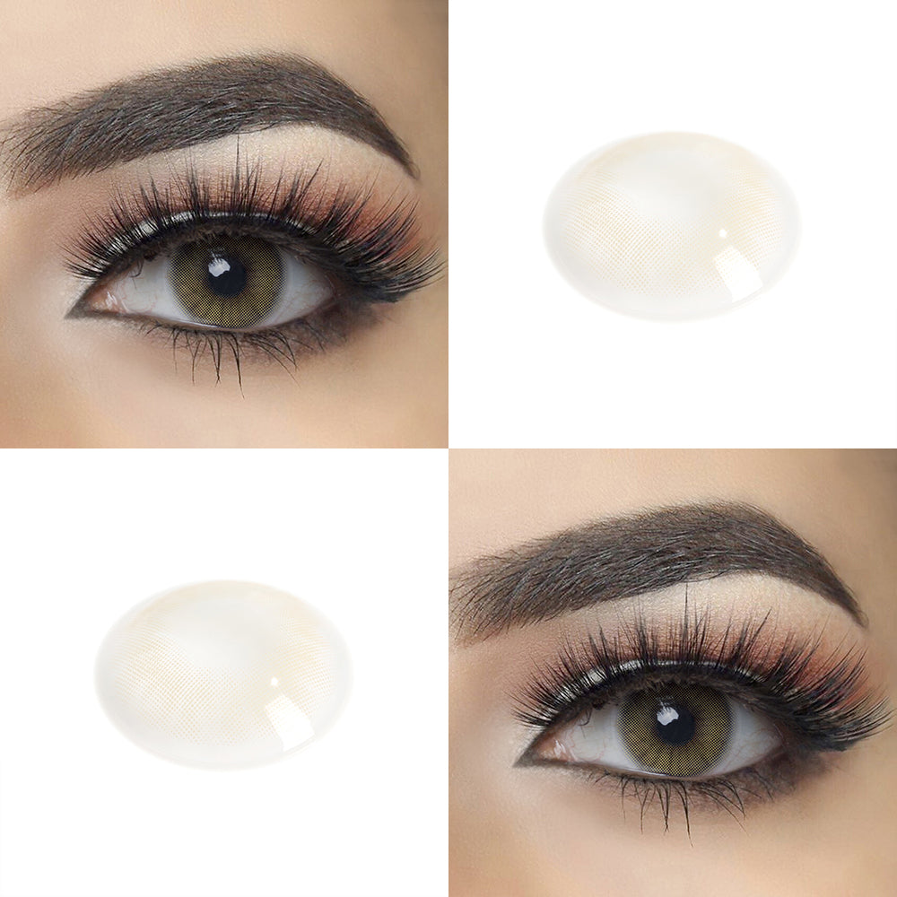 Pure Amber color contact lenses with eye effect and real shot lens picture