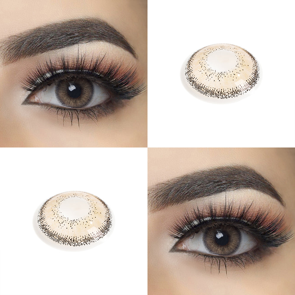 Latte Brown color contact lens with eye effect and real shot lens photo