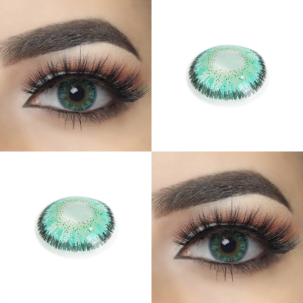 Caribbean Green color contact lens with eye effect and real shot lens photo