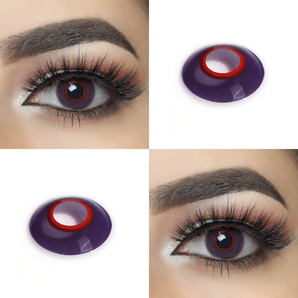 Purple Circle Halloween Contact Lens Picture and Crazy Looking Eye Effect