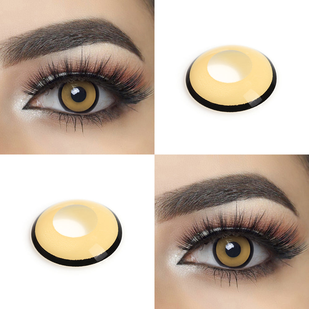 Yellow Manson Halloween contacts with crazy looking model lens photo