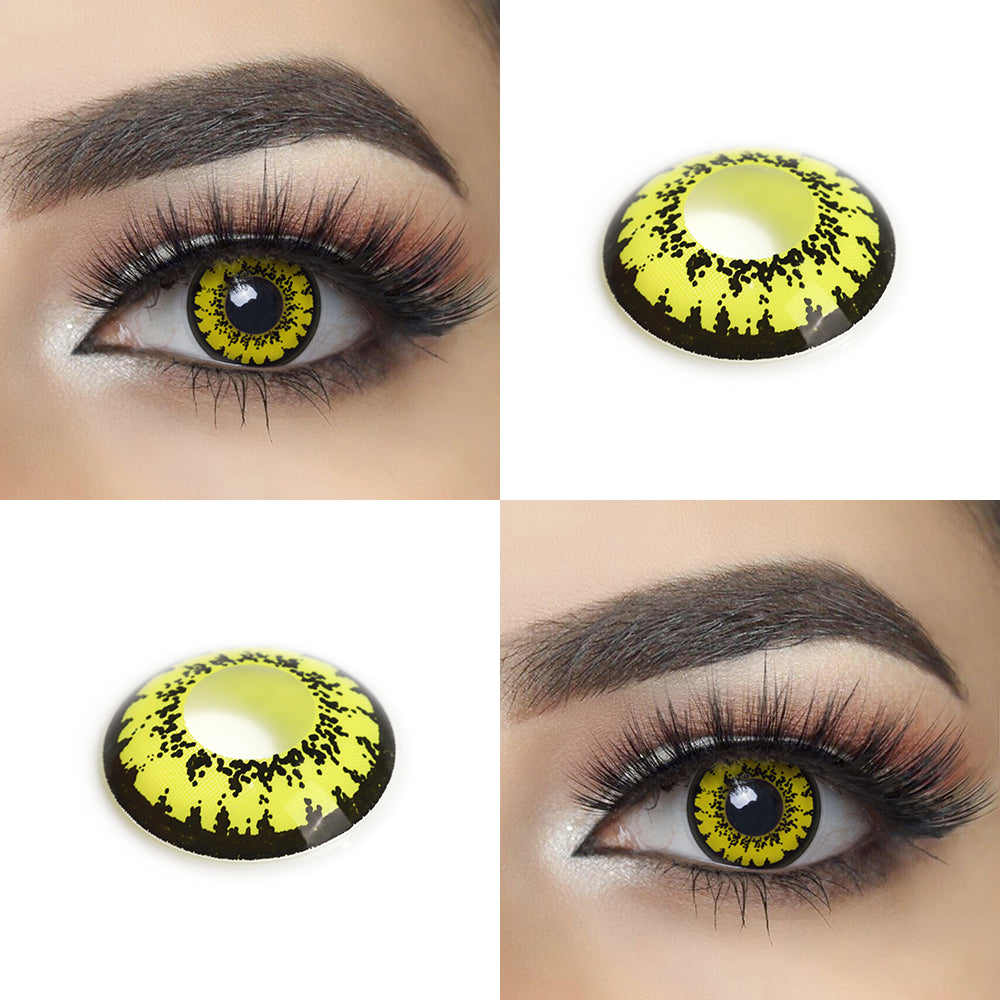Yellow Mirage crazy contact lens with model lens and photo