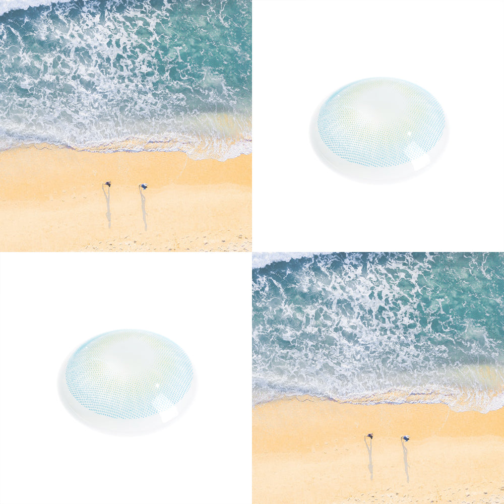 Topaz blue color contact lenses with real shot lens picture