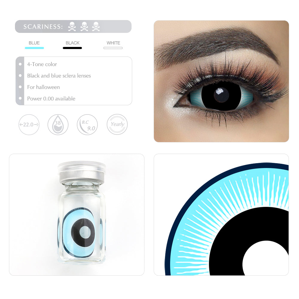 Black and Blue sclera lenses 22mm for Cosplay