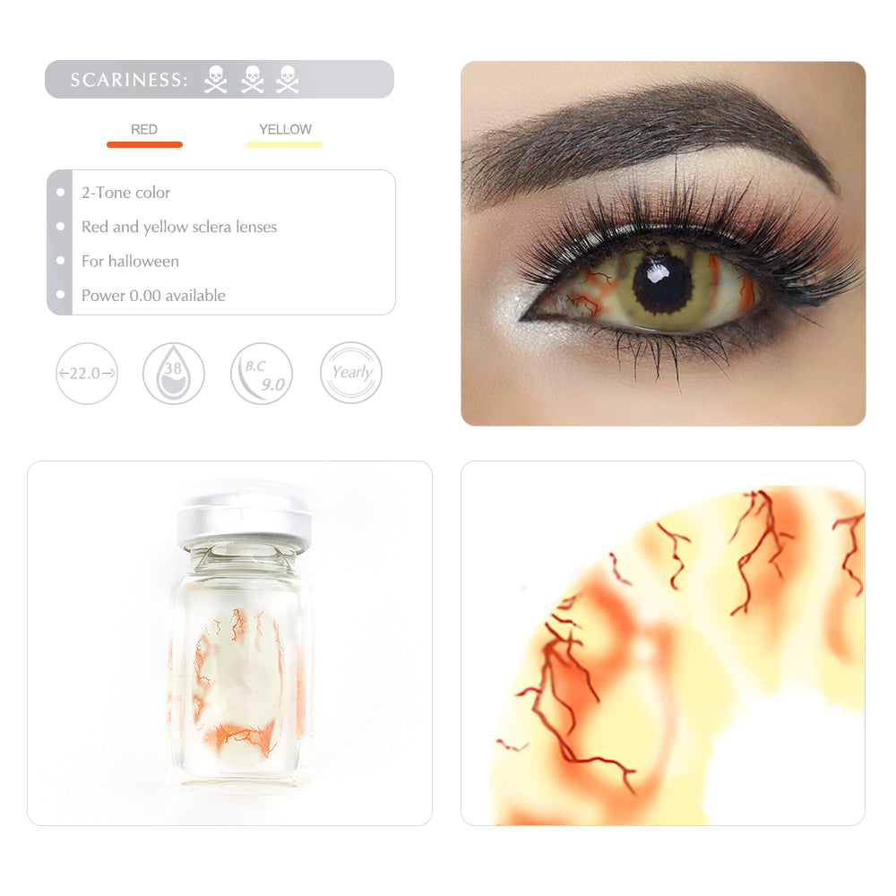 These 22mm sclera contact lenses entirely cover the sclera and iris.