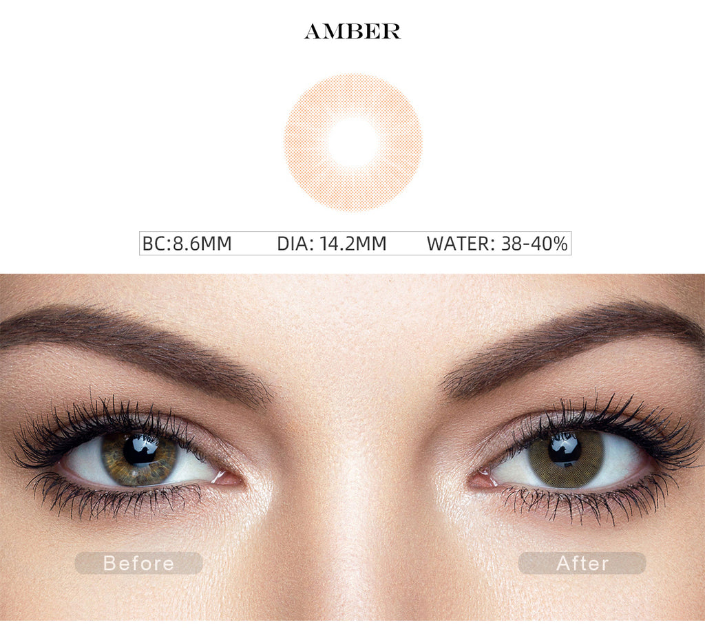 Hidrocor Amber Yellow prescription colored contacts with before and after photo