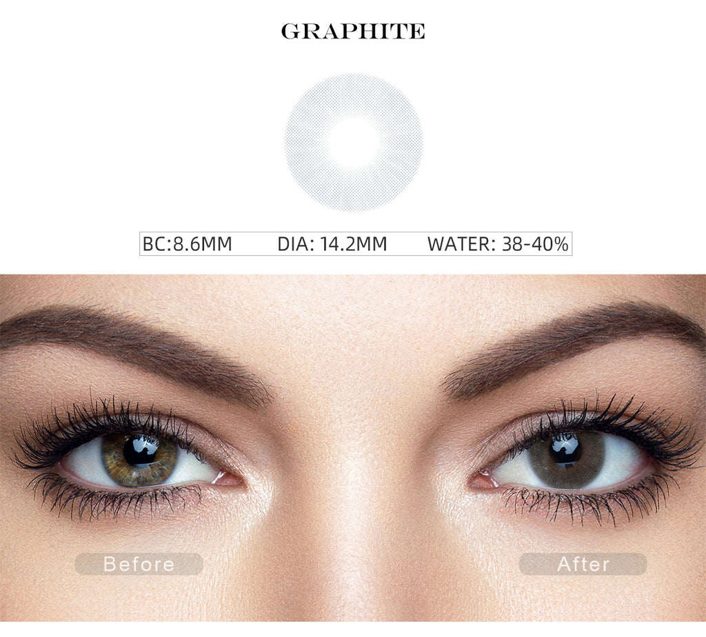 Hidrocor Graphite Gray colored contacts for dark eyes before and after