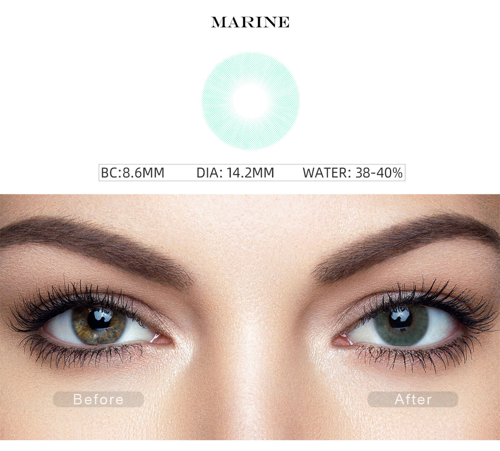 Hidrocor Marine Blue color contacts with before and after photo
