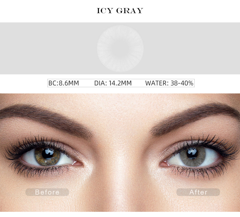Hidrocor Icy Gray colored contact lenses with before and after photo
