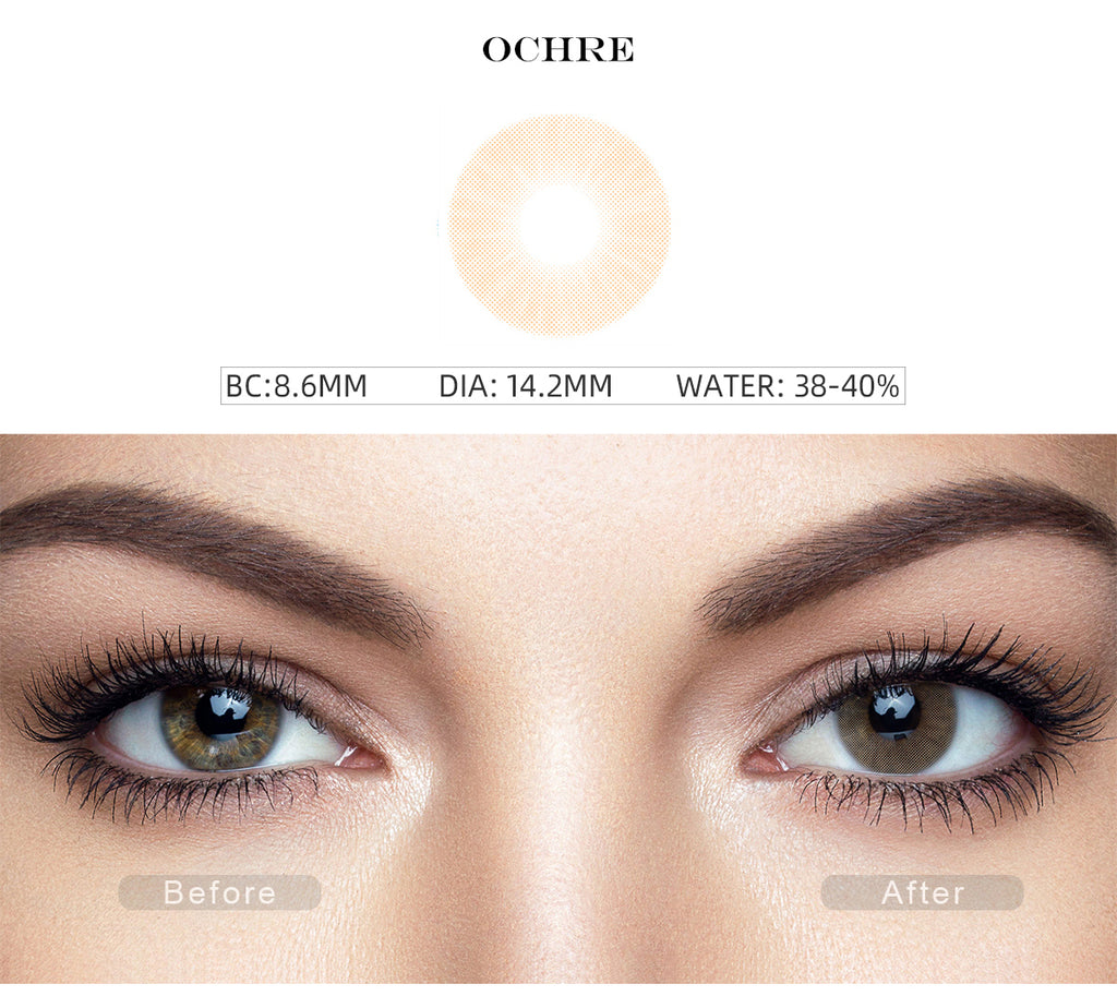 Hidrocor Ochre Brown colored contact lenses for dark eyes with before and after photo