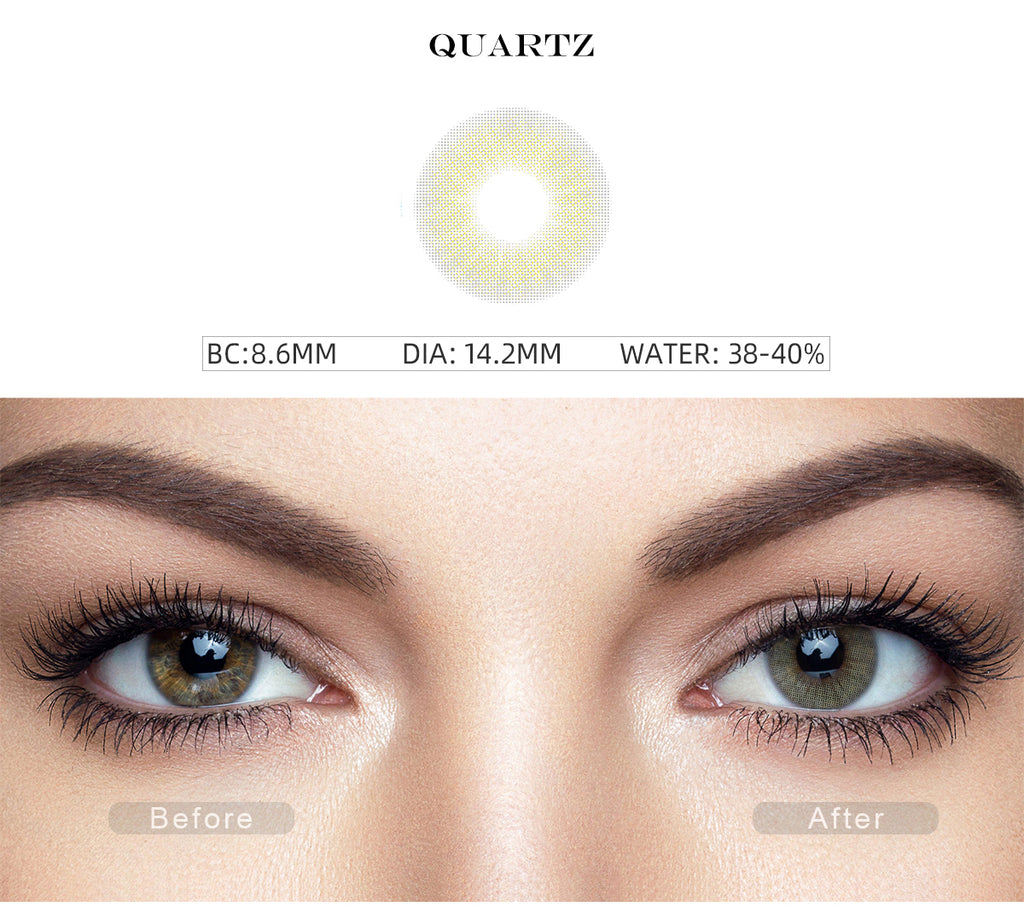 Hidrocor Quartz Gray prescription colored contacts with before and after photo