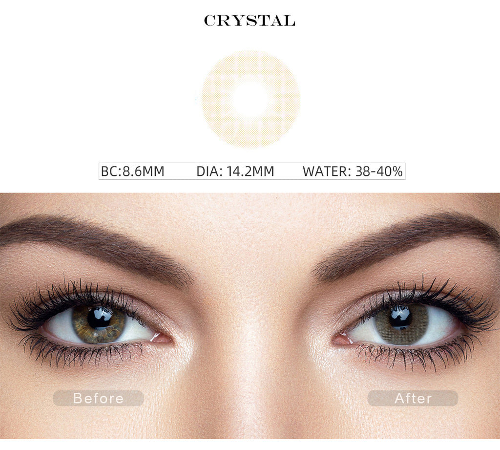 Hidrocor Crystal Yellow color contact lenses with before and after photo