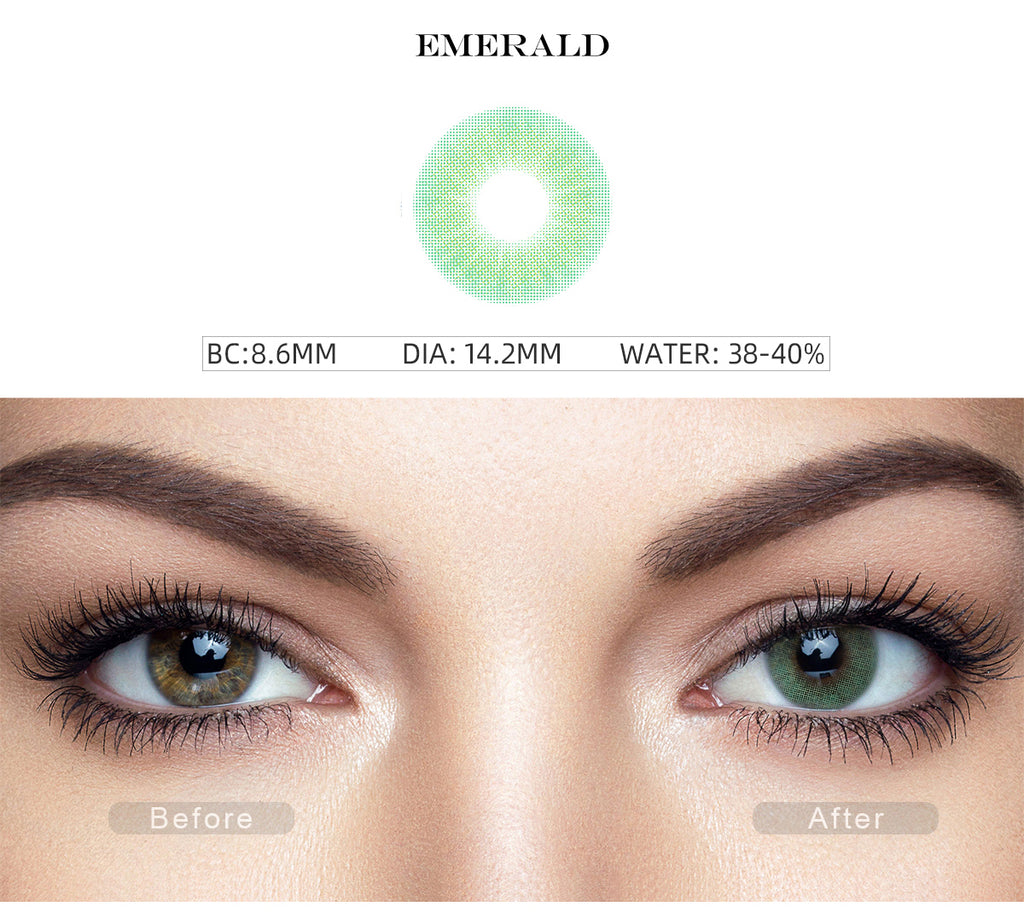 Hidrocor Emerald Green contact lenses with before and after photo